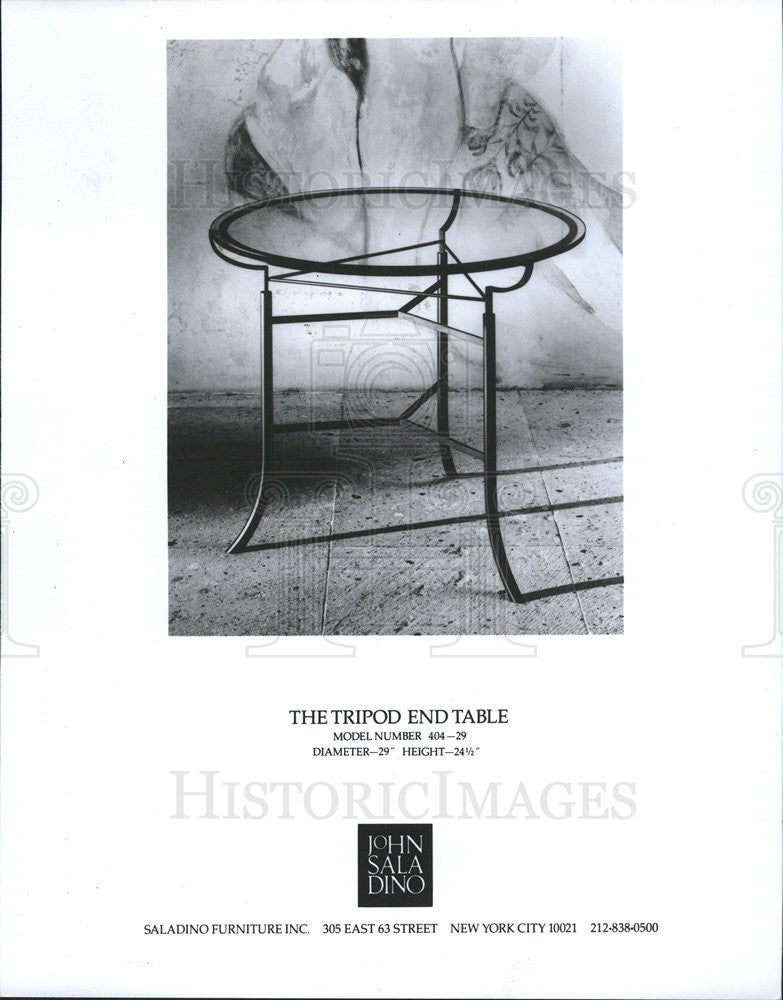 1990 Press Photo Tripod Table By John Saladino,furniture Creator   Historic  Images