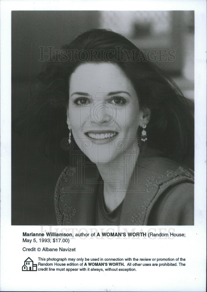 1993 Press Photo Marianne Williamson Author Of A Womans Worth Pacifist