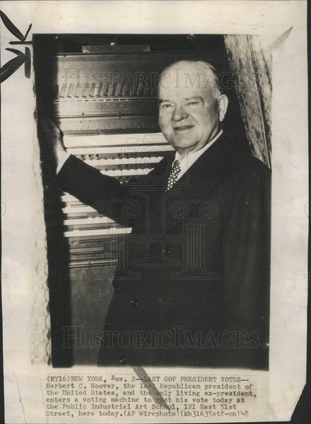 1948 Press Photo Herbert C Hoover United States Republican President - Historic Images