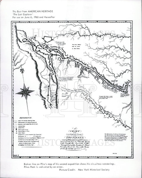 1966 Press Photo Zebulon Pike's expedition map - Historic Images