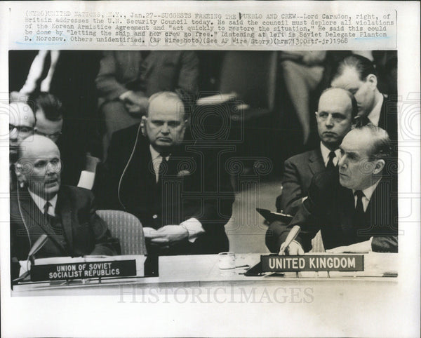 1968 Press Photo Lord Caradon United Kingdom Addresses UN - Historic Images