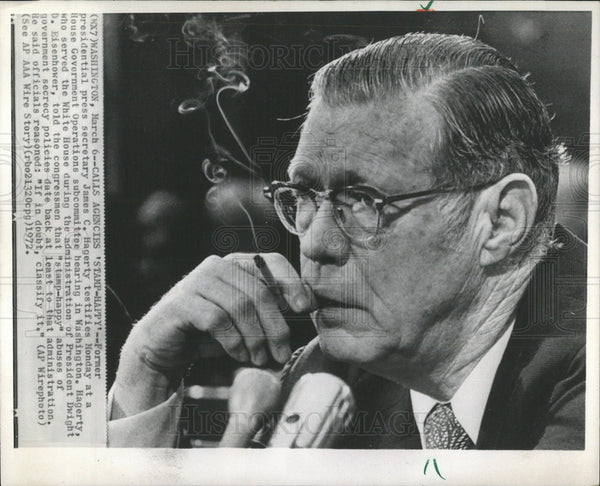 1972 Press Photo James C. Hagerty United States Government Adviser Secretary - Historic Images