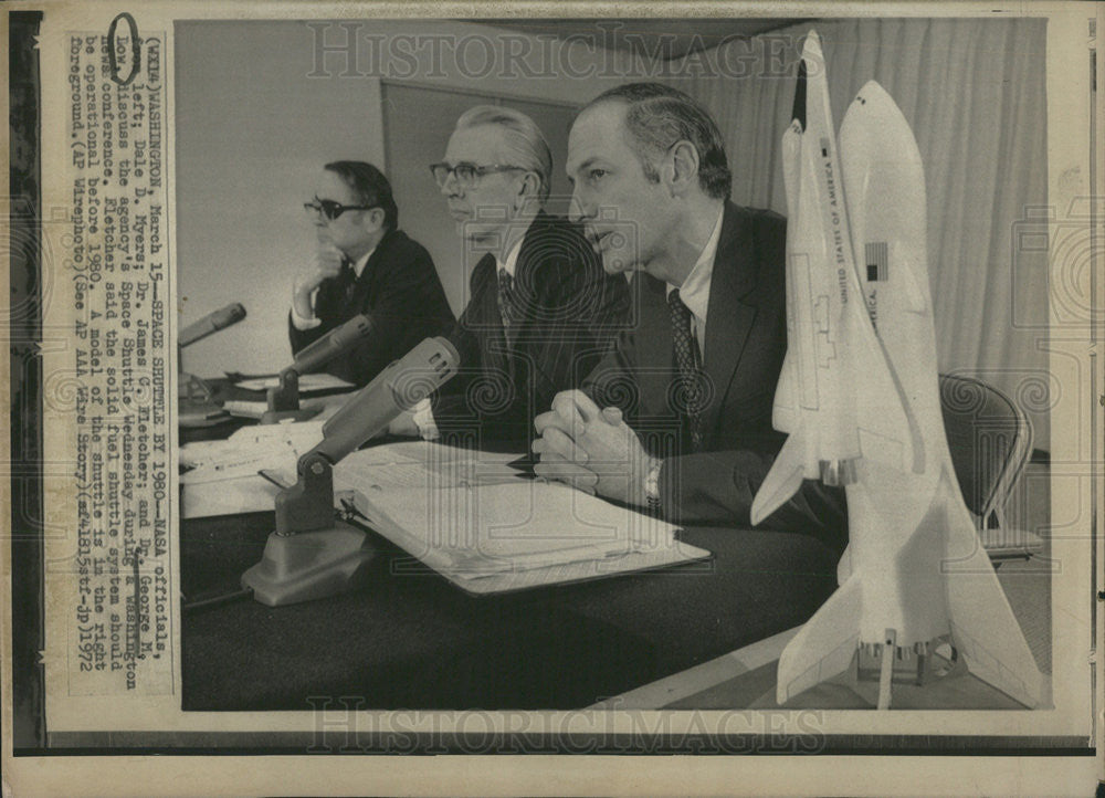 1972 Press Photo Nasa officials Dale Myers,Dr james Fletcher,Dr George Dow - Historic Images