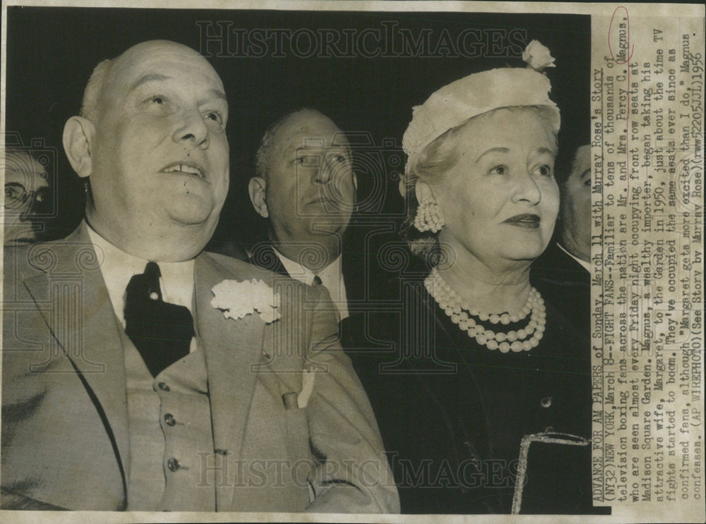 1956 Press Photo Mr and Mrs Percy C Magnus at Madison Square Garden - Historic Images