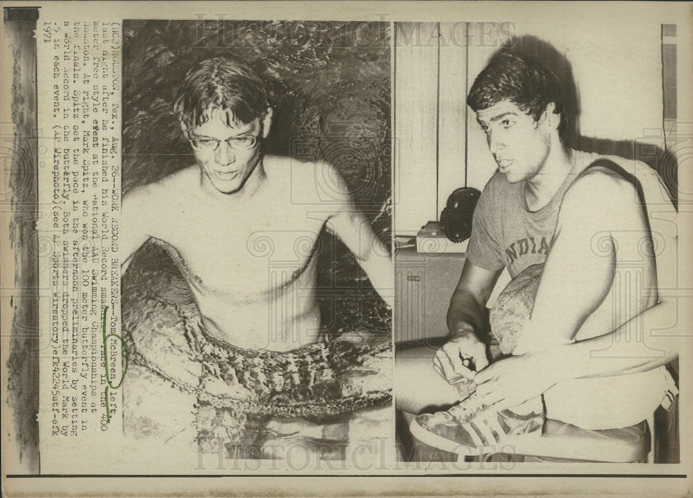 1971 Press Photo World Record Breakers Mark Spitz & Tom McBreen - Historic Images