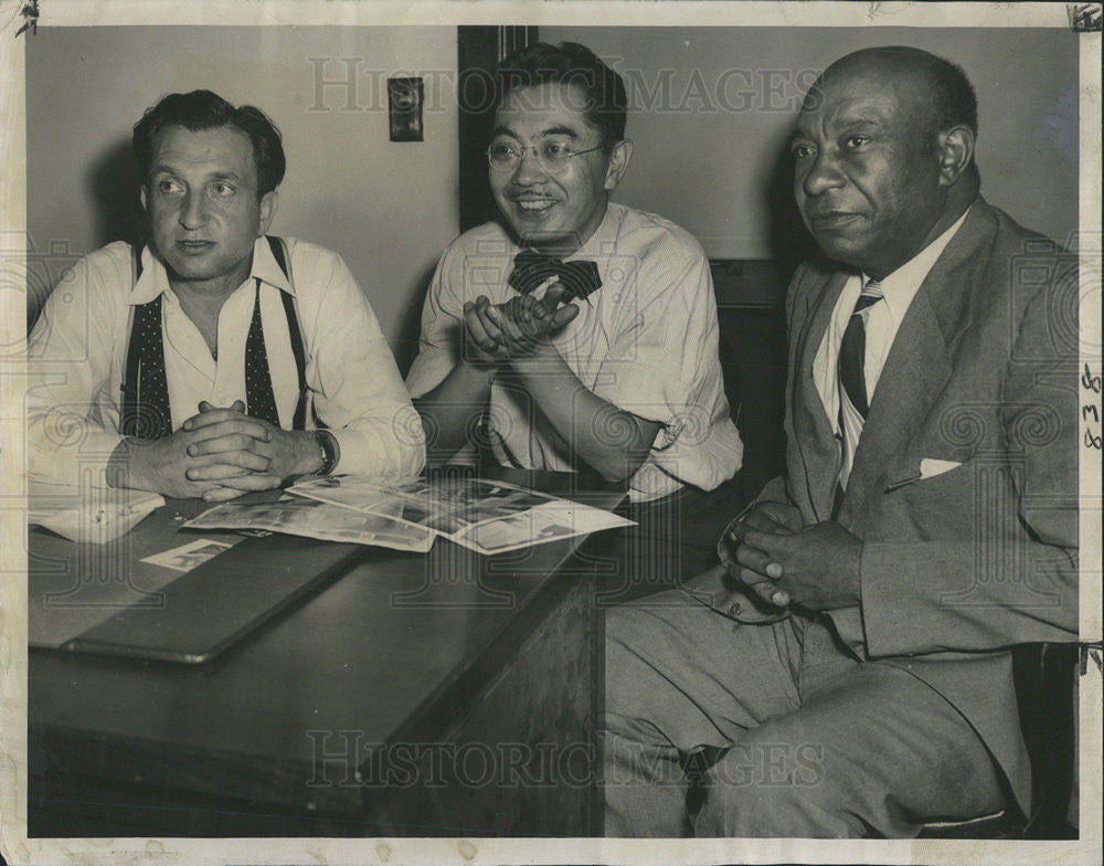 1947 Press Photo Michael Mann S.I. Hayakawa Frayser T. Lane Chicago Leaders - Historic Images