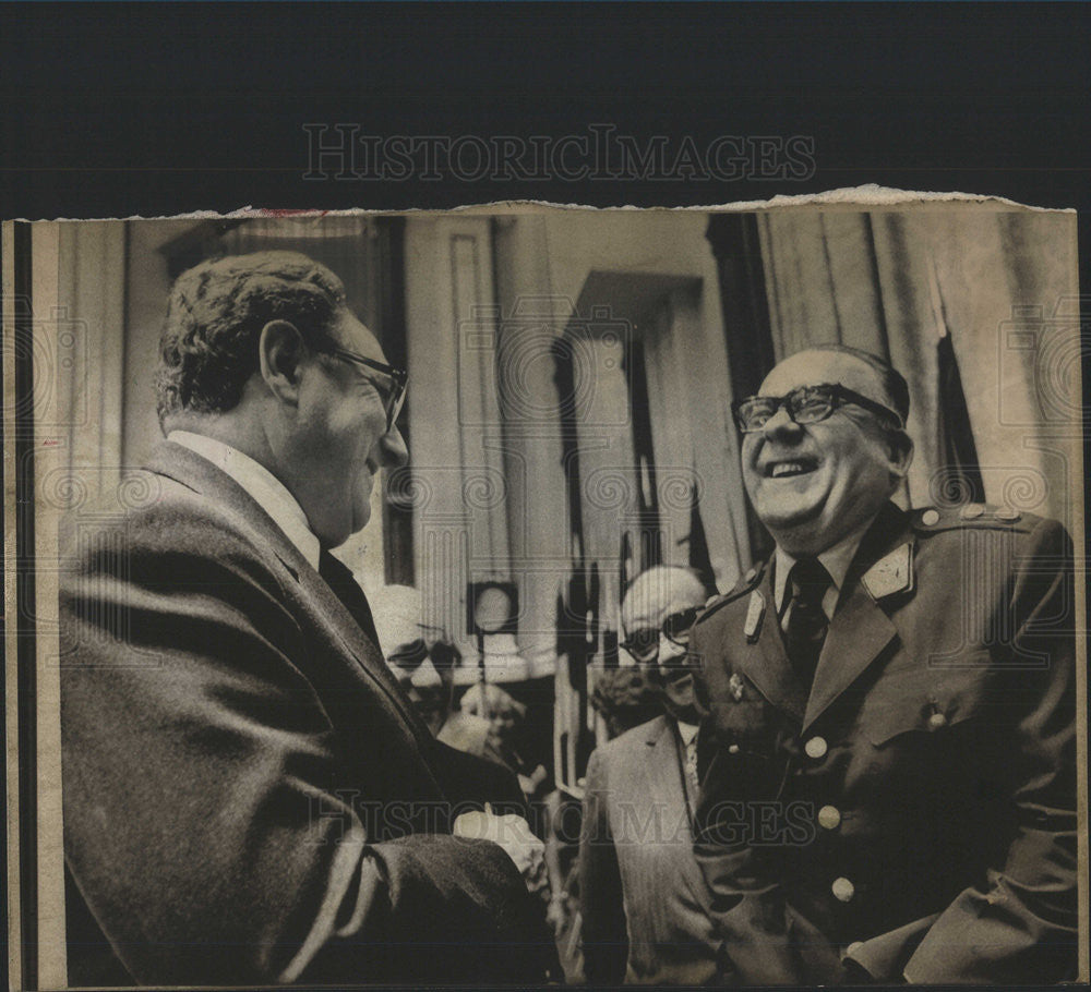 1974 Press Photo Secretary State Henry A Kissinger Peru Foreign Minister - Historic Images