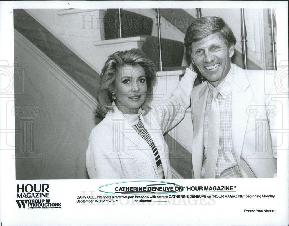 1986 Press Photo Host Gary Collins Actress Catherine Denevue Hour Magazine TV - Historic Images