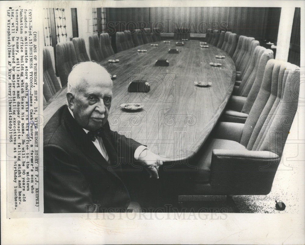 1965 Press Photo Business Tycoon James Cash Penney - Historic Images