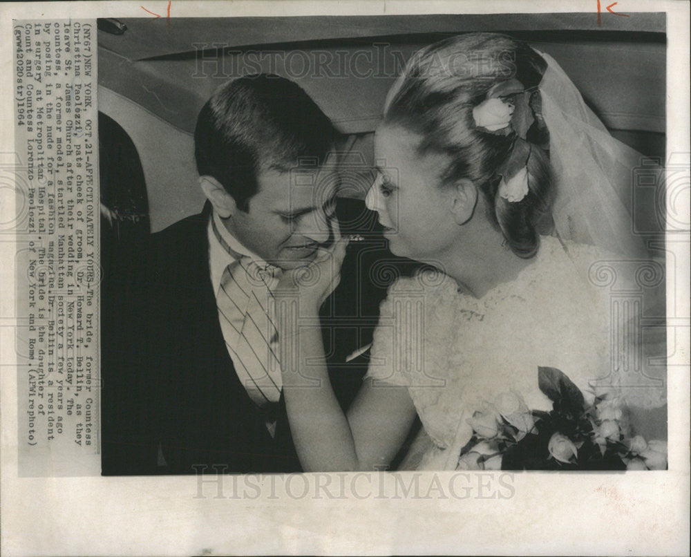 1964 Press Photo Countess Christina Paolezzi Howard T. Bellin Newlyweds - Historic Images