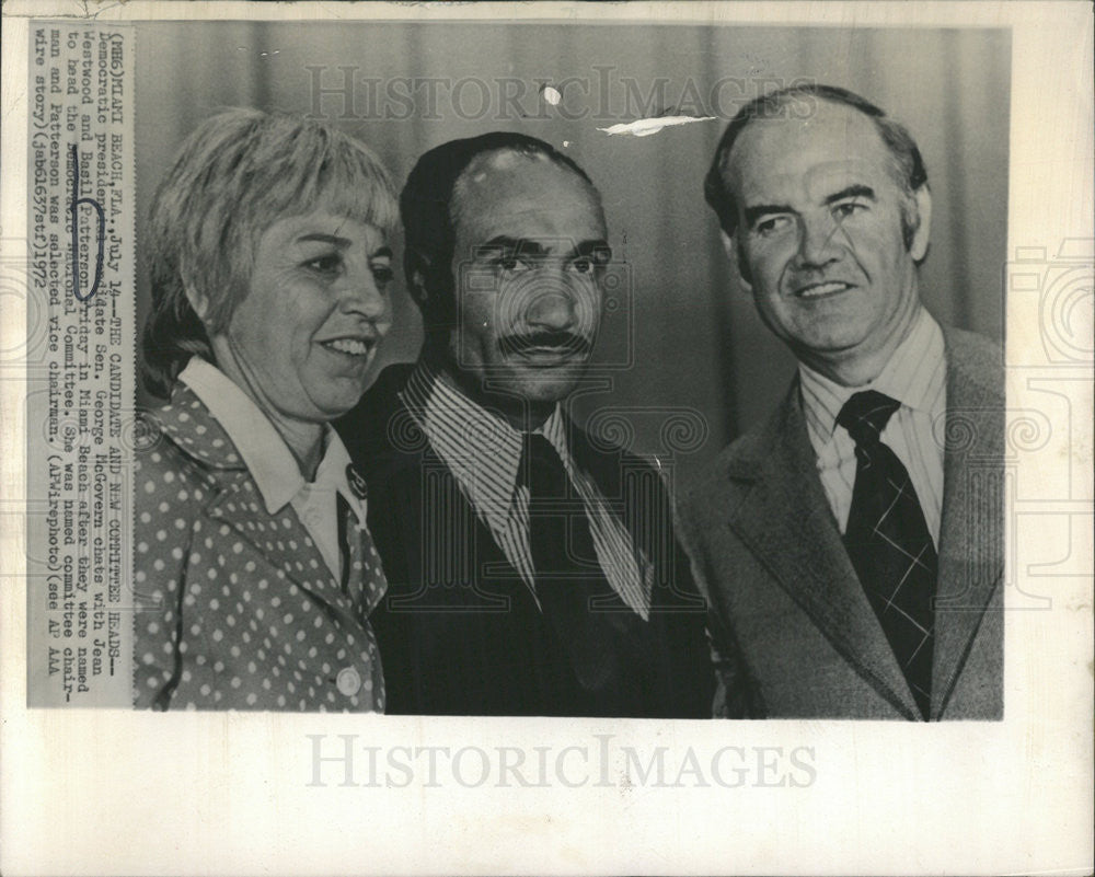 1972 Press Photo George McGovern Jean Westwood Basil Patterson Politicians - Historic Images