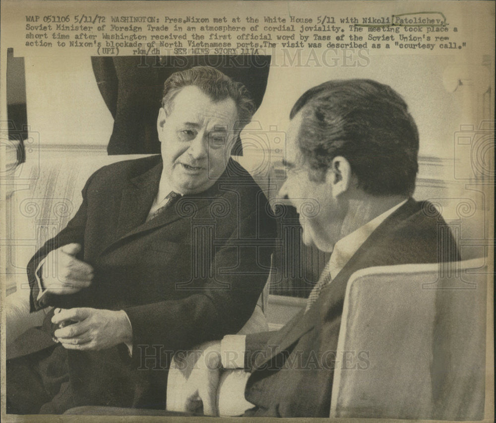 1972 Press Photo President Nixon Meets Soviet Minister Foreign Trade Patolichev - Historic Images