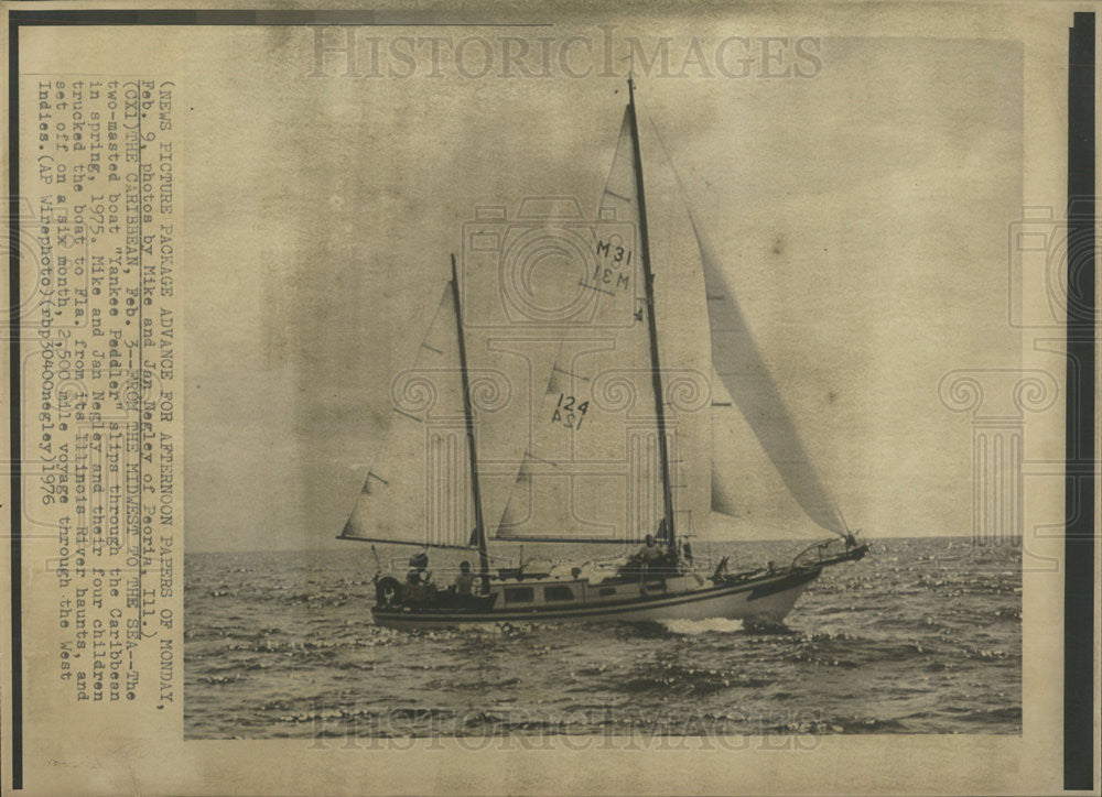 1976 Photo Sail Boat Yankee Peddler Goes From The Midwest To The Sea - Historic Images