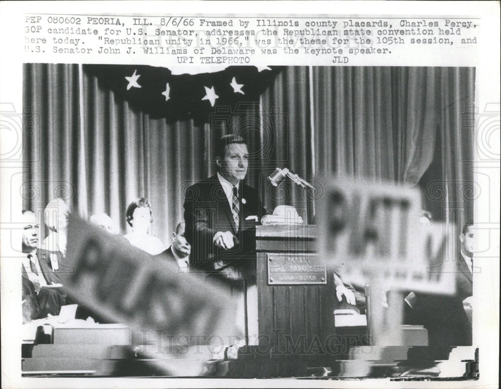 1966 Press Photo Charles Percy Candidate US Senator Republican Convention - Historic Images