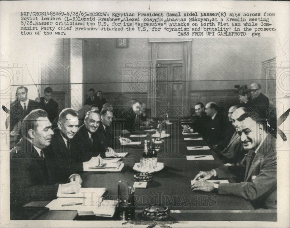 1965 Press Photo Pres. Nasser and Soviets - Historic Images