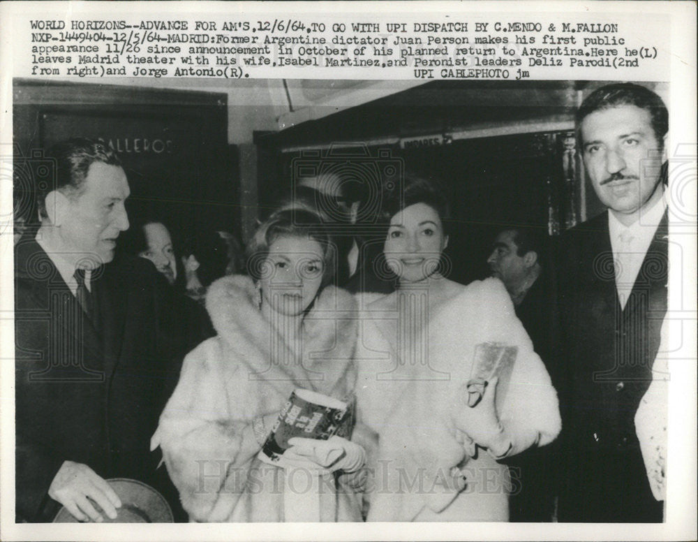 1965 Press Photo Former Argentina dictator Juan Person with wife Isabel - Historic Images