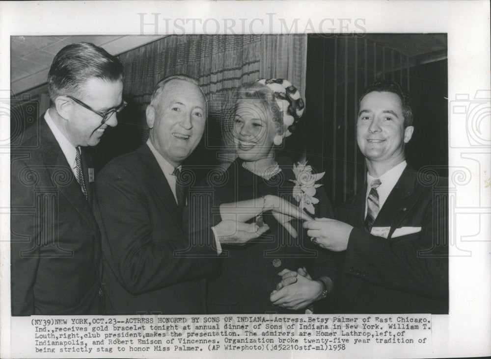 1958 Press Photo William Louth,Homer Lathrop,Robert Emison & Betsy Palmer - Historic Images