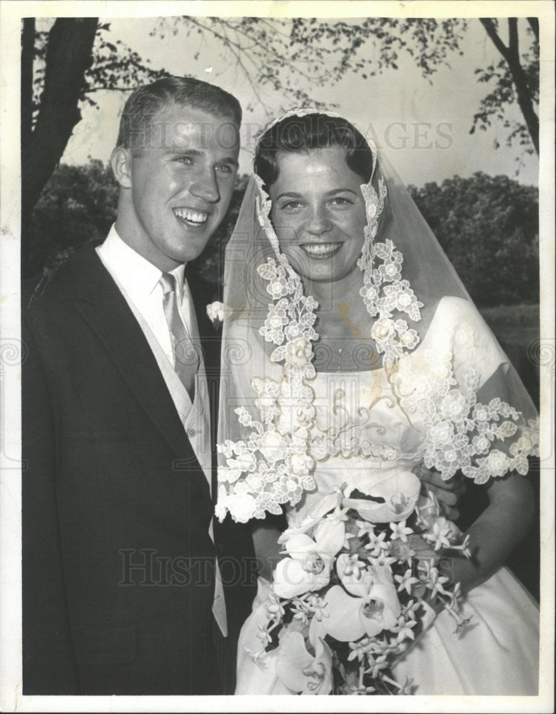 1960 Press Photo Society Wedding Heather Lee McIntosh Leigh Alan Wilson - Historic Images