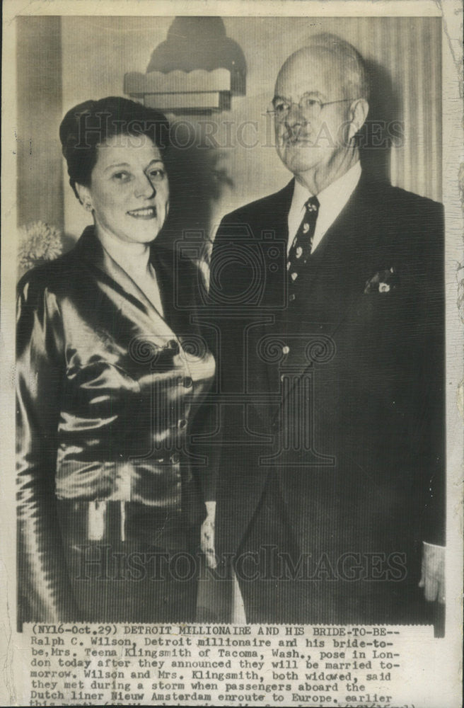 1949 Press Photo Ralph C Wilson Detroit Millionaire - Historic Images
