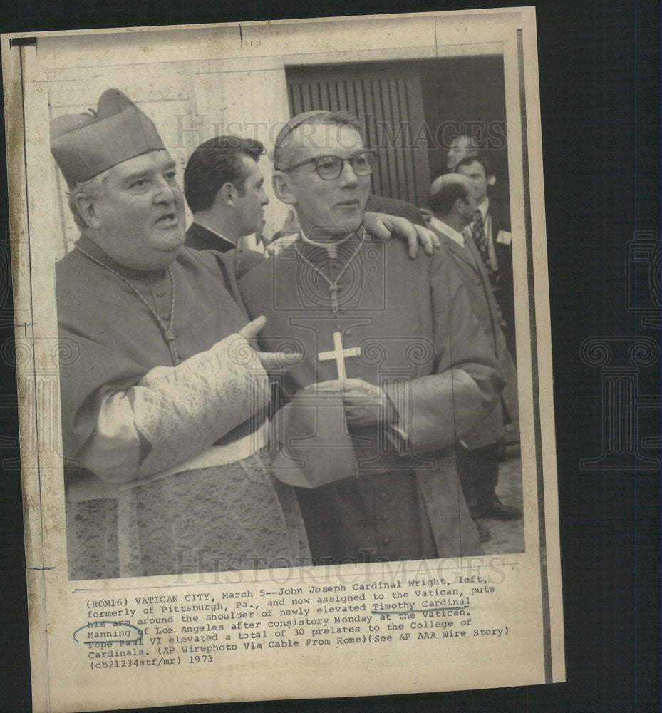 1973 Press Photo United States Los Angeles Archbishop Timothy Cardinal Manning - Historic Images