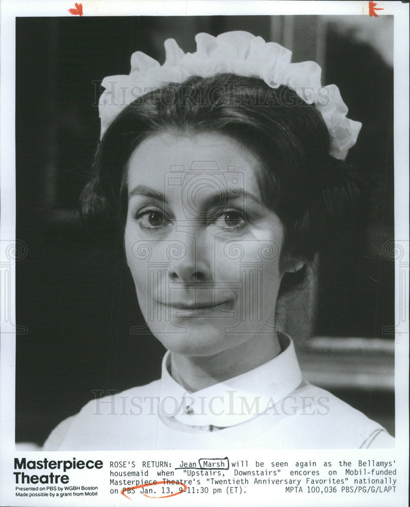 1991 Press Photo Jean Marsh In Upstairs Downstairs On Masterpiece Theatre