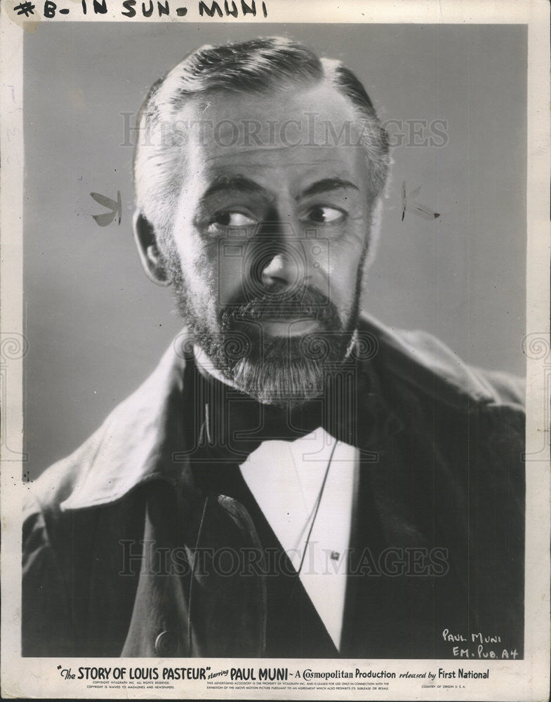 1942 Press Photo Paul Muni American Film Actor In The Story Of Louis Pasteur - Historic Images