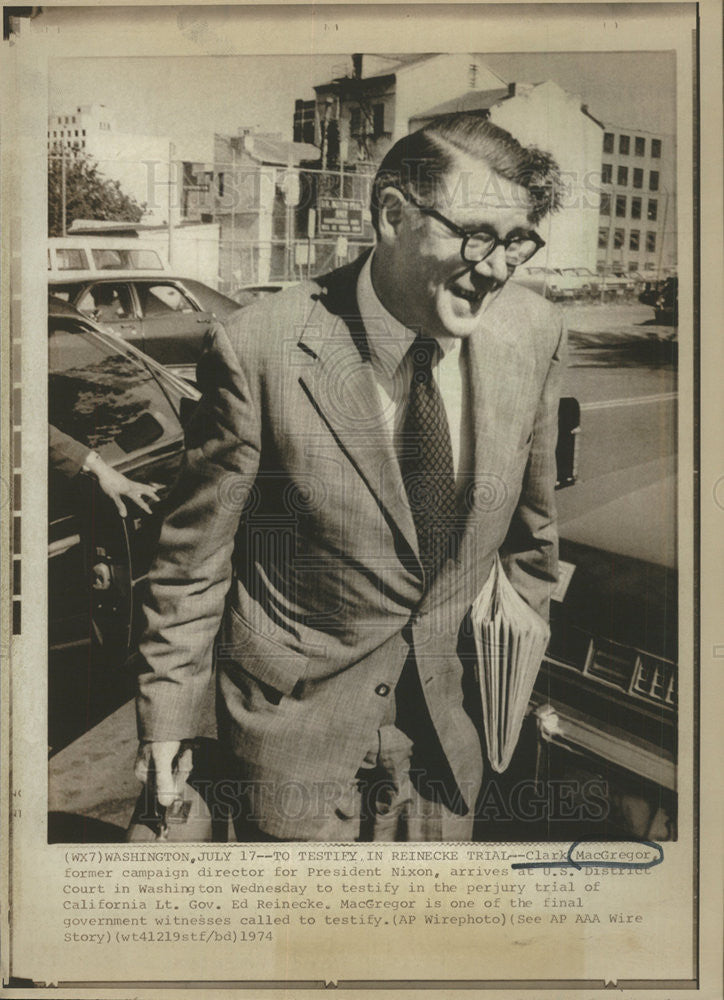 1974 Press Photo Clark MacGregor, Former Campaign Director For President Nixon - Historic Images