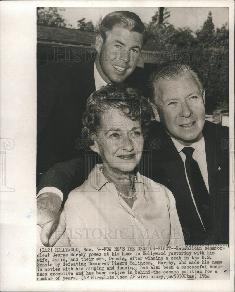 1964 Press Photo Sen George Murphy and wife Julie - Historic Images