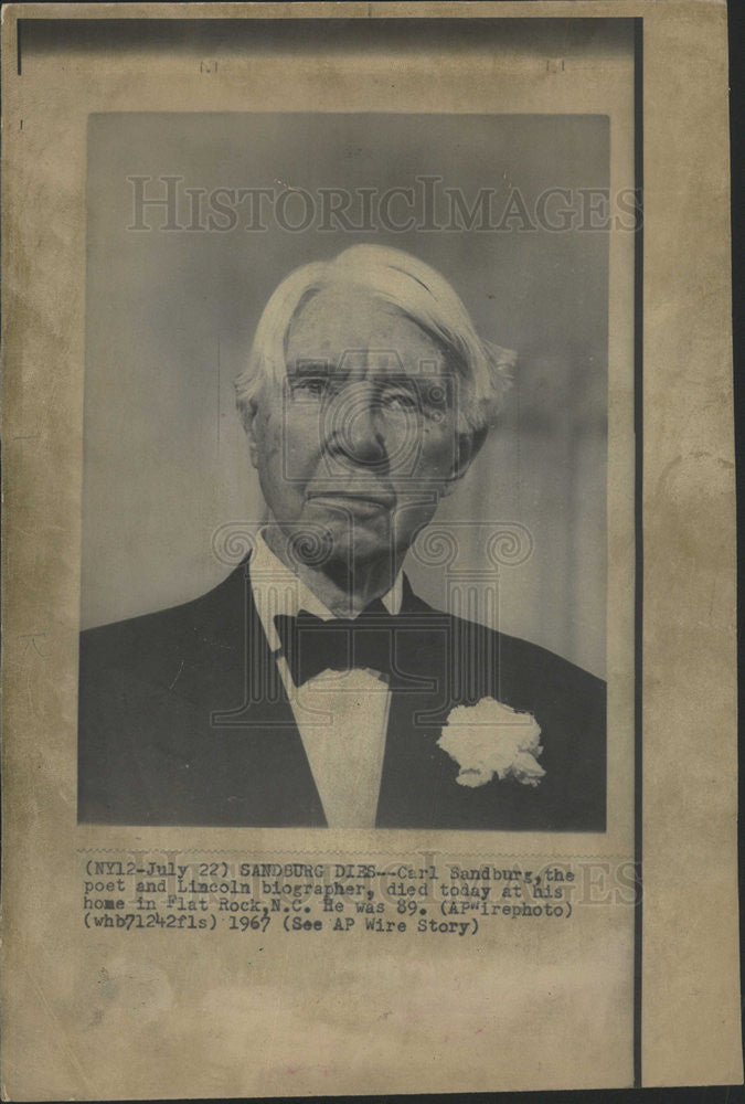 1984 Press Photo Carl Sandburg Biographer Author Memorial - Historic Images