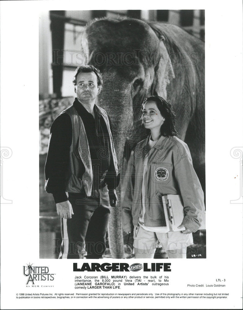 1996 Press Photo Bill Murray Actor Comedian Jeneane Garofalo Actress Larger Life - Historic Images