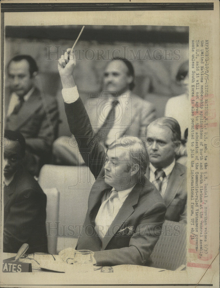 1975 Press Photo US Amb. to the UN Daniel Moynihan at the UN General Assembly - Historic Images