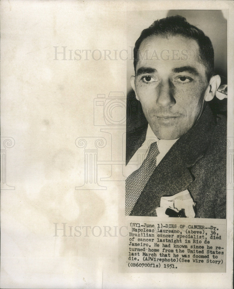 1951 Press Photo 36-Year-Old Brazilian Cancer Specialist, Dies of Cancer - Historic Images