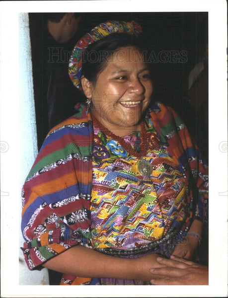 1992 Press Photo Rigoberta Menchu Nobel Peace Prize Winner - Historic Images