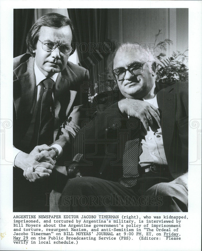 Press Photo Argentin  editor  Jacabo Timerman interviw with Bill Moyer - Historic Images