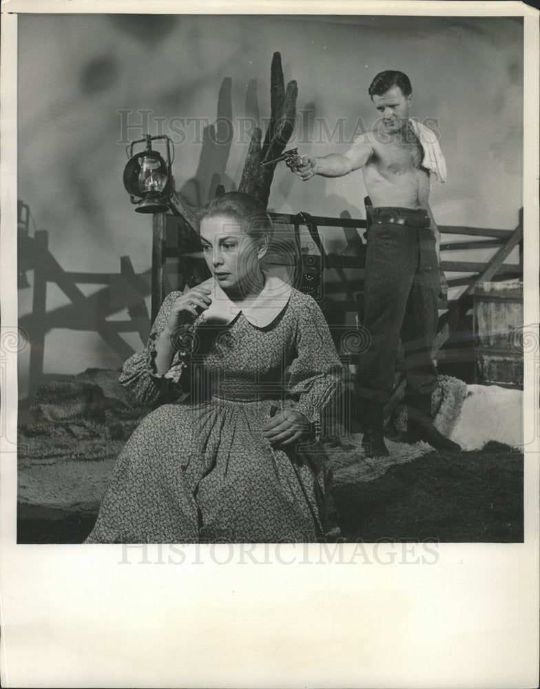 "1955 Press Photo Joan Lorring and Philip Abbott in ""Black Eagle Pass."" - Historic Images"