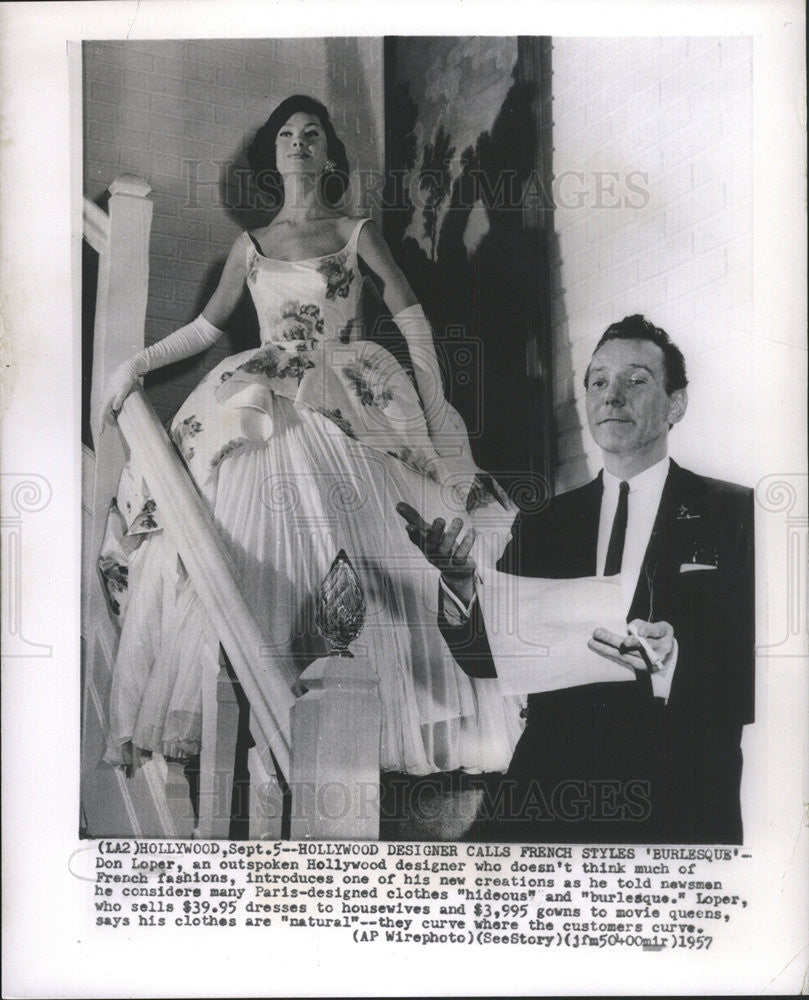 1957 Press Photo Don Loper Outspoken Hollywood Designer French Fashions - Historic Images