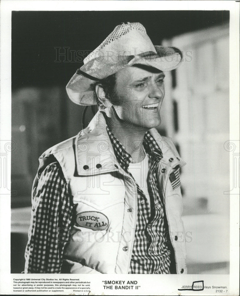910fd2d5 Press Photo Jerry Reed Snowman Smokey and Bandit II - Historic Images