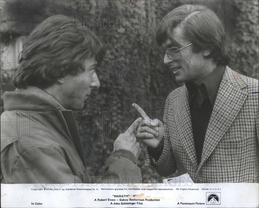 "1976 Press Photo Producer Robert Evans and Dustin Hoffman ""Marathon Man"" - Historic Images"