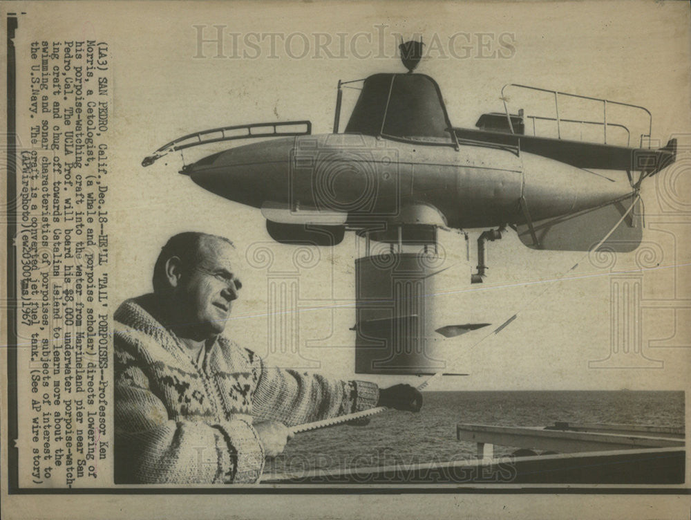 1967 Press Photo Professor Ken Morris Lowers Porpoise Watching Craft Into Water - Historic Images