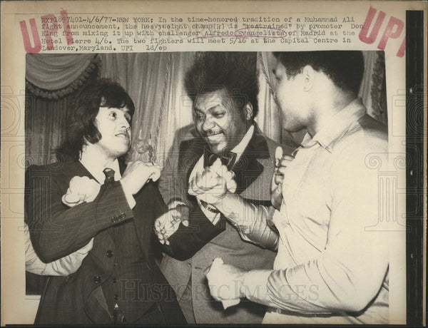 1977 Press Photo Muhammad Heavyweight Champ Don King Alfredo Evanlist Madrid - Historic Images
