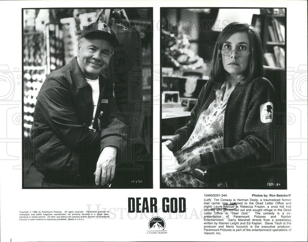"1996 Press Photo of Tim Conway and Laurie Metcalf in the film, ""Dear God"" - Historic Images"
