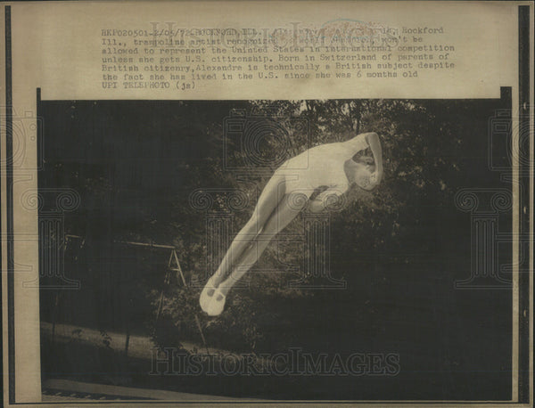 1972 Press Photo Alexandra trampoline artist represent United States competition - Historic Images
