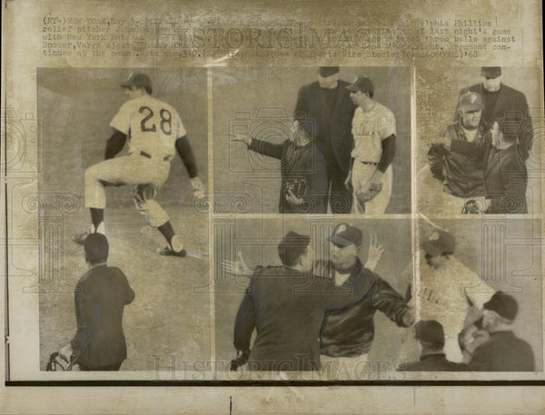 1968 Press Photo Phillies Relief Pitcher John Booker - Historic Images