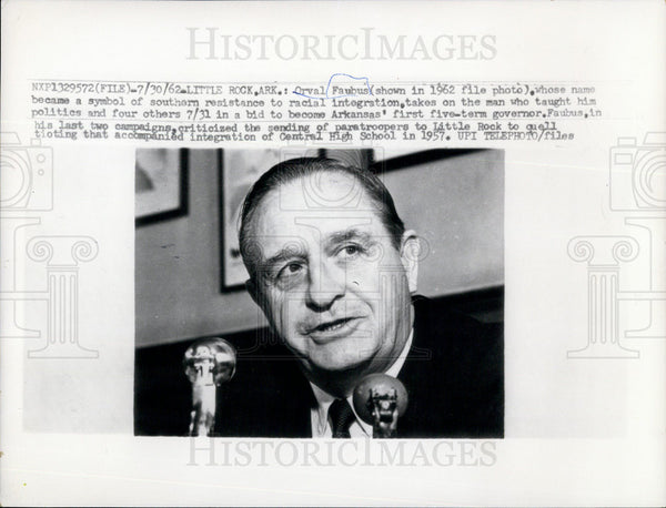 1962 Press Photo Arkansas Governor Orval Faubus Racial Integration Central High - Historic Images