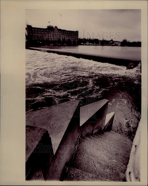 1993 Press North Ave. Bridge Stairs in St. Charles Floods from Fox River - Historic Images