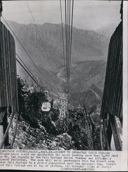1963 Press Photo Passenger Cable Car up Mt. San Jacinto - Historic Images