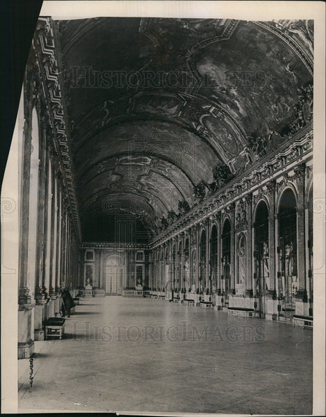 1919 Press Photo Beautiful Hall of Mirrors Versailles Palace Black & White - Historic Images