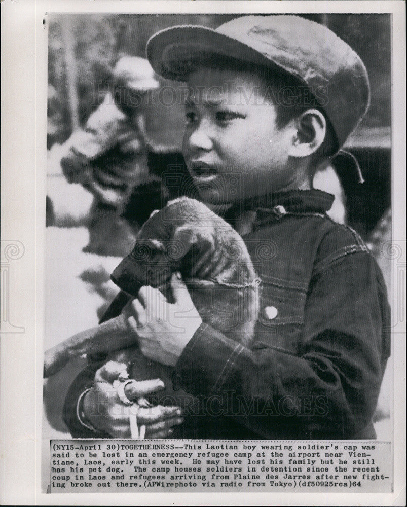 1964 Press Photo Laotian boy lost in Emergency Refugee Camp near Vientiane,Laos - Historic Images