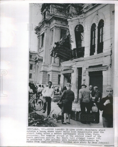 1966 Press Photo Peru Earthquake Damages Homes In Lima - Historic Images