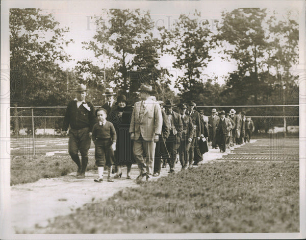 1935 Press Photo Group at Roth state nursery for reforestation of Mich effort - Historic Images